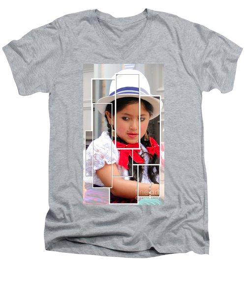 Men's V-Neck T-Shirt featuring the photograph Cuenca Kids 890 by Al Bourassa
