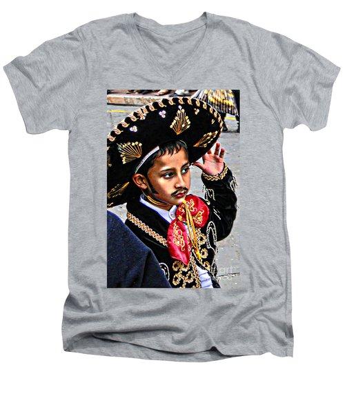 Men's V-Neck T-Shirt featuring the photograph Cuenca Kids 897 by Al Bourassa