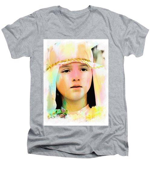 Men's V-Neck T-Shirt featuring the photograph Cuenca Kids 899 by Al Bourassa