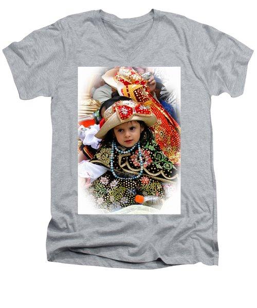 Men's V-Neck T-Shirt featuring the photograph Cuenca Kids 900 by Al Bourassa