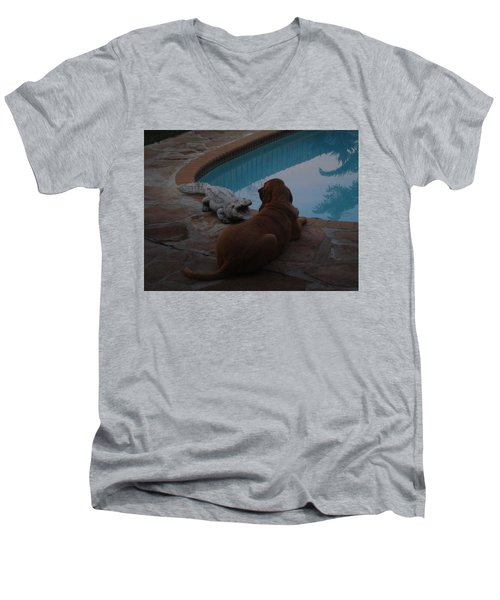 Cujo And The Alligator Men's V-Neck T-Shirt by Val Oconnor