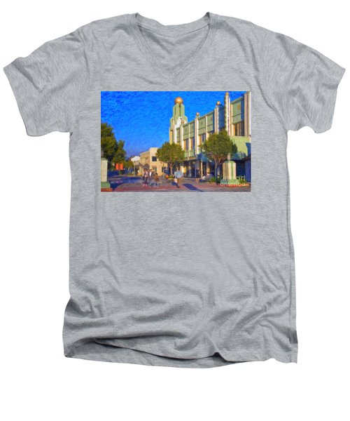Men's V-Neck T-Shirt featuring the photograph Culver City Plaza Theaters   by David Zanzinger