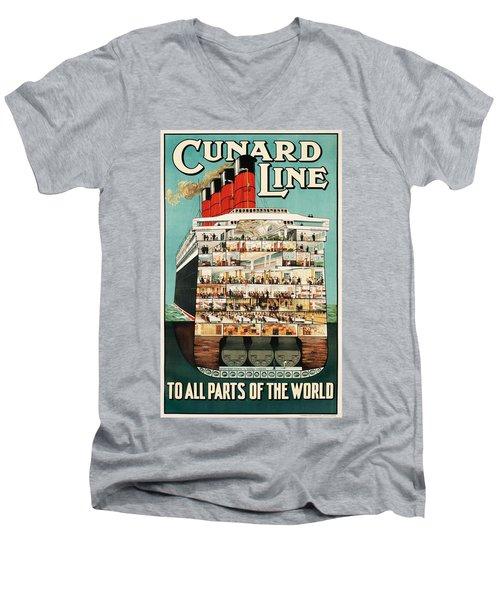 Cunard Liner Poster Men's V-Neck T-Shirt