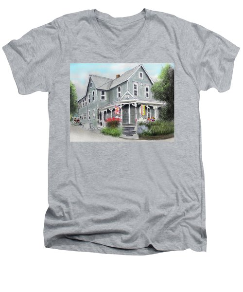 Men's V-Neck T-Shirt featuring the drawing Cup A Joes Coffee Shop by Albert Puskaric