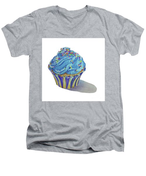 Men's V-Neck T-Shirt featuring the drawing Cupcake by Terri Mills