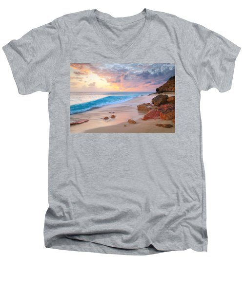 Cupecoy Beach Sunset Saint Maarten Men's V-Neck T-Shirt