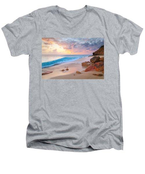 Cupecoy Beach Sunset Saint Maarten Men's V-Neck T-Shirt by Roupen  Baker
