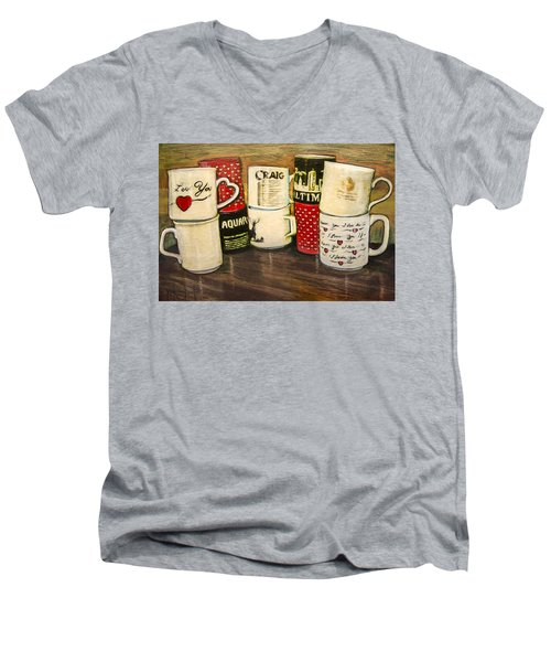 Cups Of Memory Men's V-Neck T-Shirt by Ron Richard Baviello