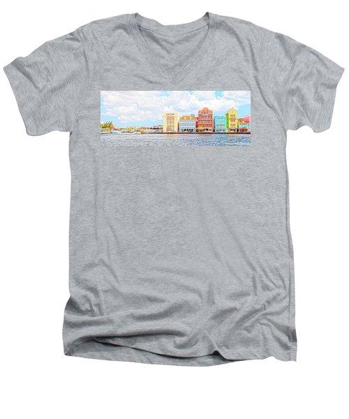 Men's V-Neck T-Shirt featuring the photograph Curacao Awash by Allen Carroll