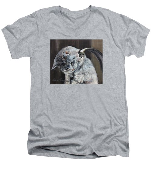 Men's V-Neck T-Shirt featuring the painting Curiosity by Stan Tenney