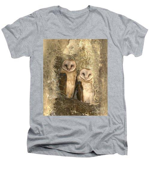 Curious Barn Owls Perched Men's V-Neck T-Shirt