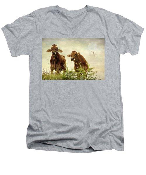 Curious Cows Men's V-Neck T-Shirt