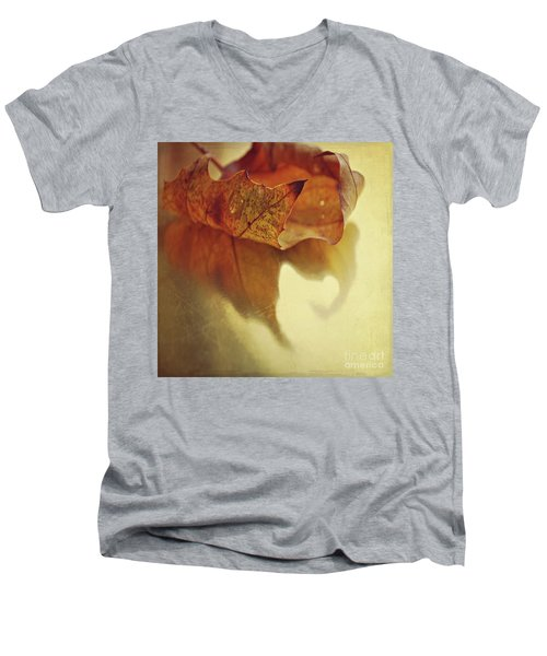 Curled Autumn Leaf Men's V-Neck T-Shirt by Lyn Randle