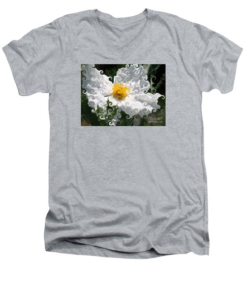 Curlicue Fantasy Bloom Men's V-Neck T-Shirt