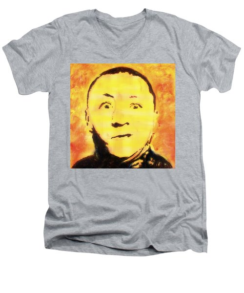 Men's V-Neck T-Shirt featuring the painting Curly Howard Three Stooges Pop Art by Bob Baker