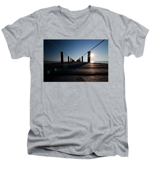 Men's V-Neck T-Shirt featuring the photograph Currituck Sunset by David Sutton