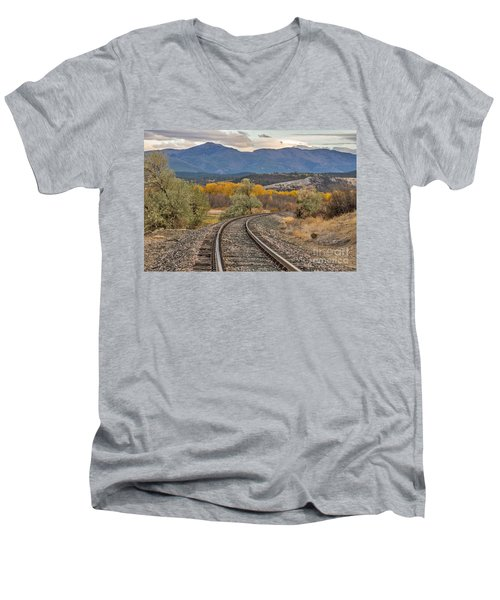Men's V-Neck T-Shirt featuring the photograph Curve In The Tracks In Autumn by Sue Smith