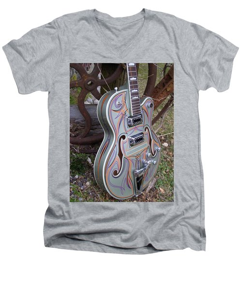 Custom Painted Giutar Men's V-Neck T-Shirt