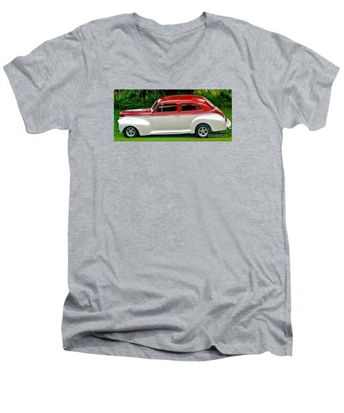 Customized Forty One Chevy Hot Rod Men's V-Neck T-Shirt by Marsha Heiken