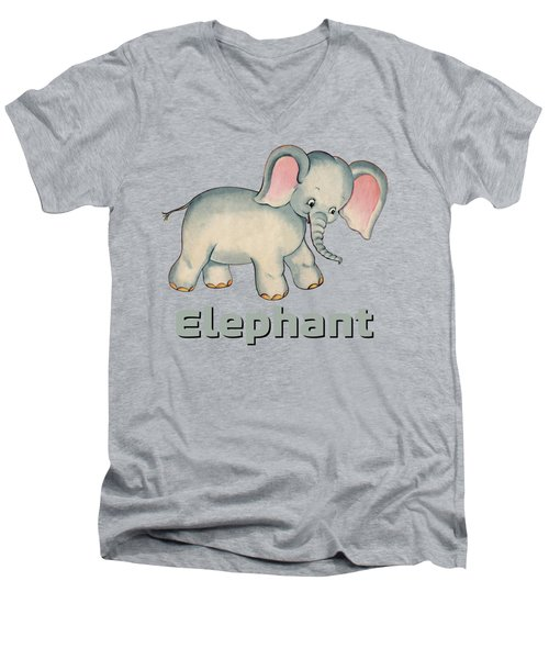 Cute Baby Elephant Pattern Vintage Illustration For Children Men's V-Neck T-Shirt