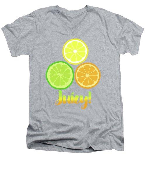 Cute Juicy Orange Lime Lemon Citrus Fun Art Men's V-Neck T-Shirt by Tina Lavoie