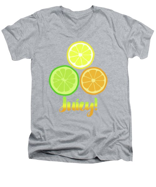 Cute Juicy Orange Lime Lemon Citrus Fun Art Men's V-Neck T-Shirt