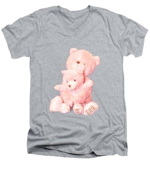 Cutout Hugging Bears Men's V-Neck T-Shirt