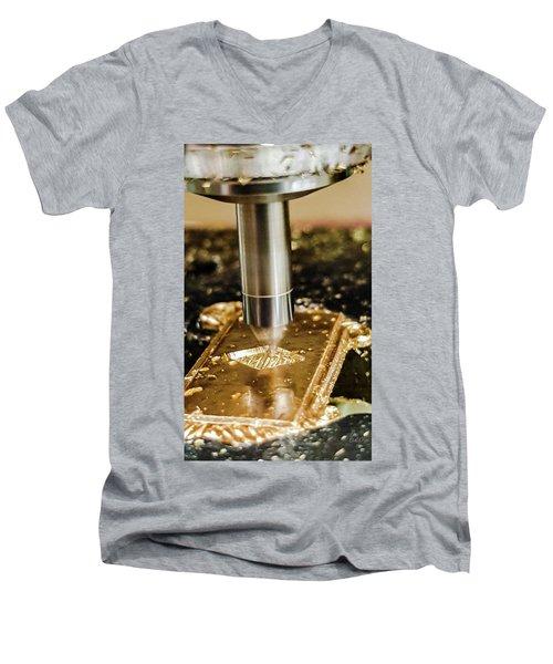 Men's V-Neck T-Shirt featuring the photograph Cutting Brass by Bruce Carpenter