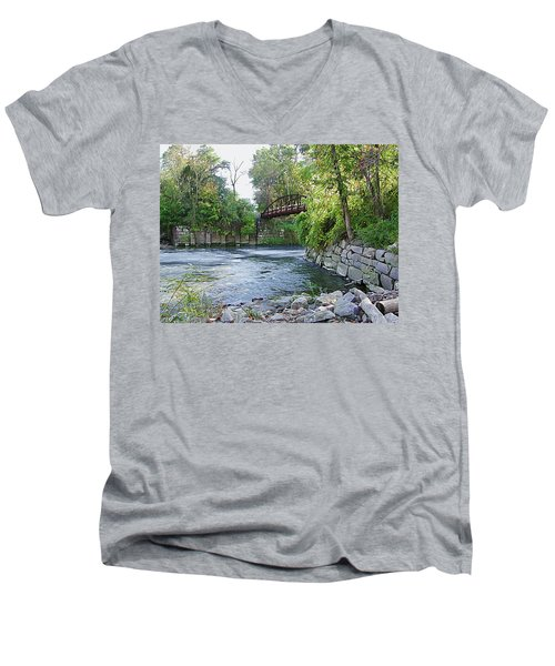Cuyahoga River At Peninsula Men's V-Neck T-Shirt