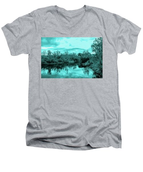 Men's V-Neck T-Shirt featuring the photograph Cyan Dreaming - Sarasota Pond by Madeline Ellis