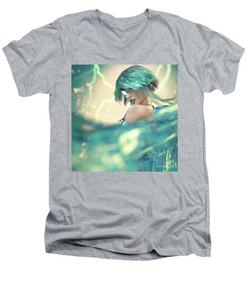 Cyan Men's V-Neck T-Shirt