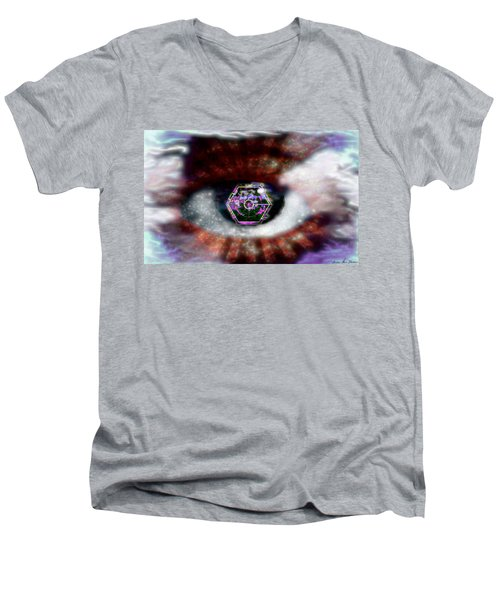 Cyber Oculus Cumulus Men's V-Neck T-Shirt by Iowan Stone-Flowers