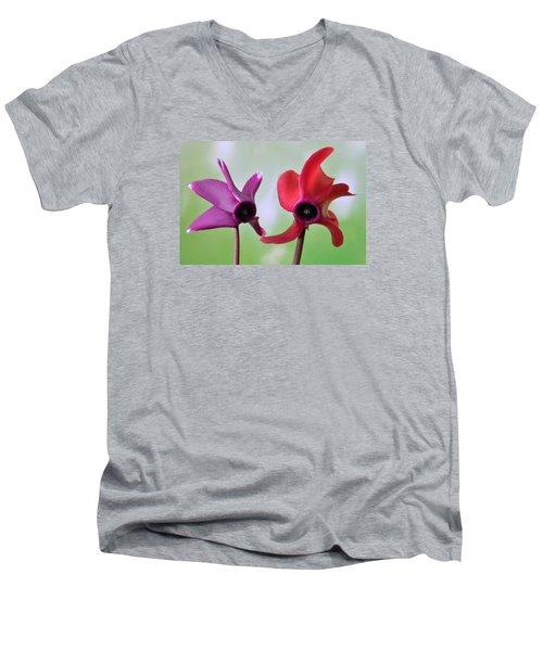 Cyclamen Duet. Men's V-Neck T-Shirt by Terence Davis