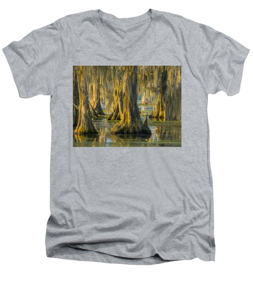 Cypress Canopy Uncovered Men's V-Neck T-Shirt by Kimo Fernandez