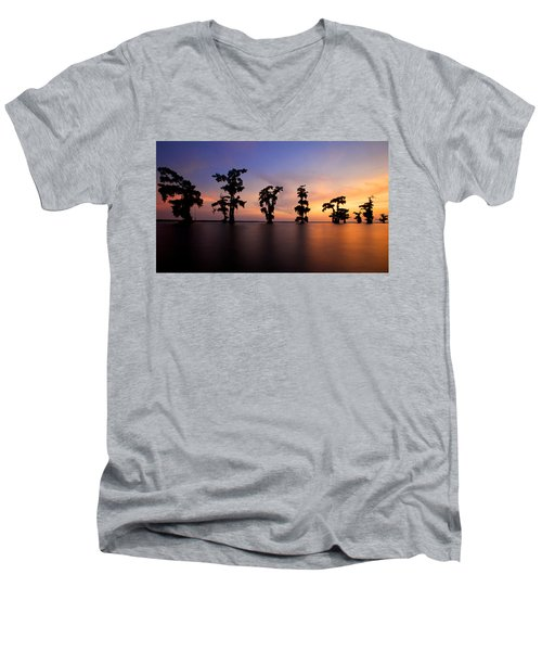 Men's V-Neck T-Shirt featuring the photograph Cypress Trees by Evgeny Vasenev