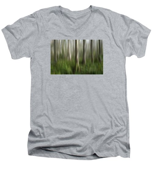 Cypress Tress Digital Abstracts Motion Blur Men's V-Neck T-Shirt by Rich Franco