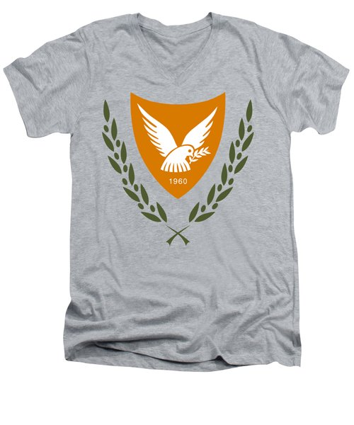 Cyprus Coat Of Arms Men's V-Neck T-Shirt by Movie Poster Prints