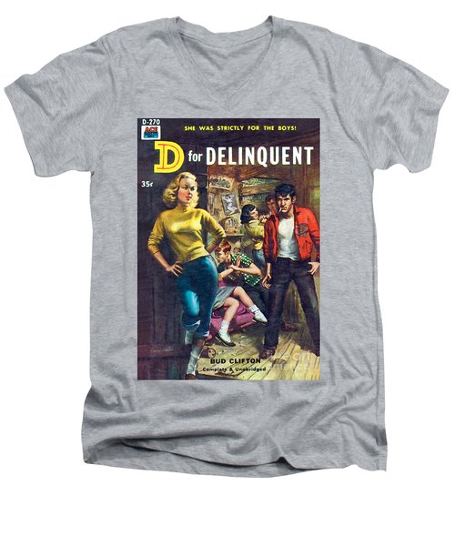 D For Delinquent Men's V-Neck T-Shirt by Rudy Nappi