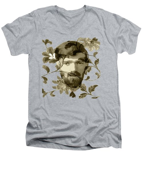 D H Lawrence Men's V-Neck T-Shirt by Asok Mukhopadhyay