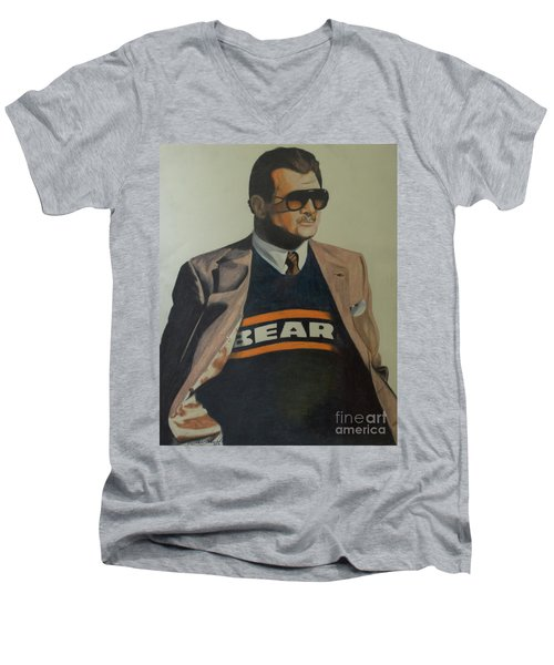 Men's V-Neck T-Shirt featuring the drawing Da Coach Ditka by Melissa Goodrich