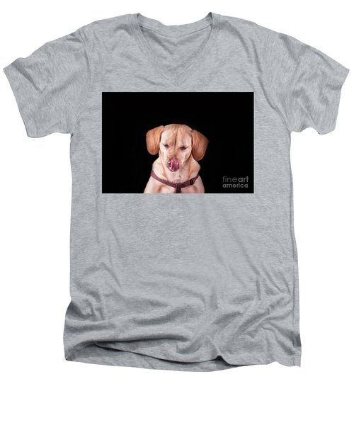 Dachshund Mix Licking Lips Men's V-Neck T-Shirt