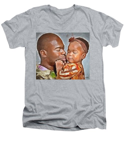 Daddy's Girl Men's V-Neck T-Shirt by Wayne Pascall