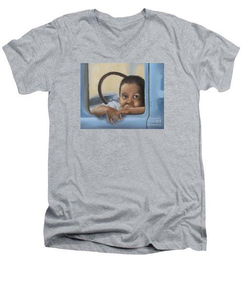 Men's V-Neck T-Shirt featuring the painting Daddy's Truck by Annemeet Hasidi- van der Leij