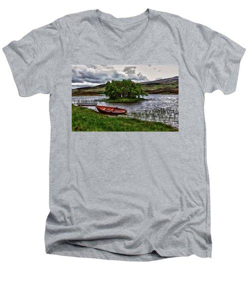 Dads Fishing Spot P D P Men's V-Neck T-Shirt by David Dehner