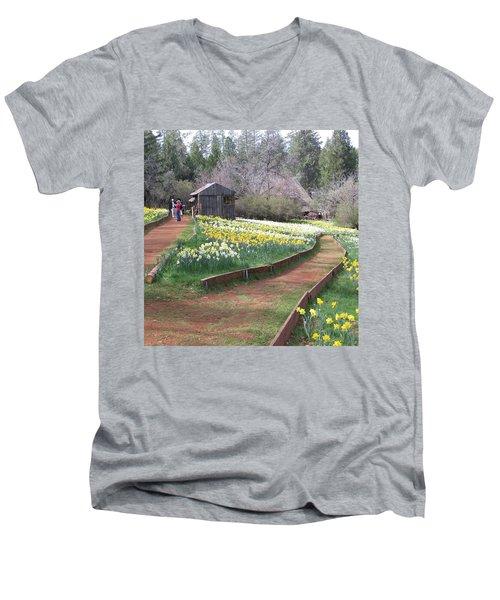Daffodil Hill Pathway Men's V-Neck T-Shirt by Karen J Shine