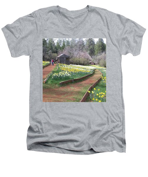 Daffodil Hill Pathway Men's V-Neck T-Shirt