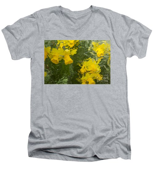 Daffodil Impressions Men's V-Neck T-Shirt by Jeanette French