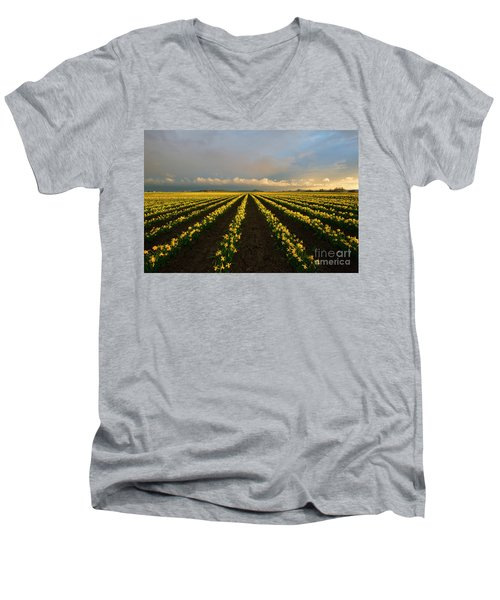 Men's V-Neck T-Shirt featuring the photograph Daffodil Storm by Mike Dawson