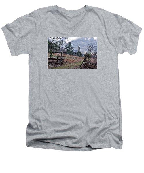 Dahlgren Chapel Winter Scene Men's V-Neck T-Shirt