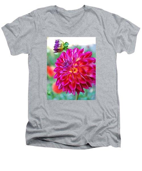 Dahlia Fuchsia Surprise  Men's V-Neck T-Shirt